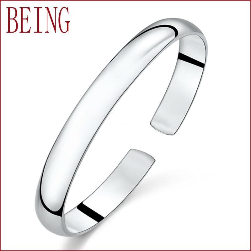 2016 Fashion Women Female Jewelry Silver Plated Bangles Simple Cuff Bracelets High Quality Gifts Charm Adjustable Opening Bangle(China (Mainland))