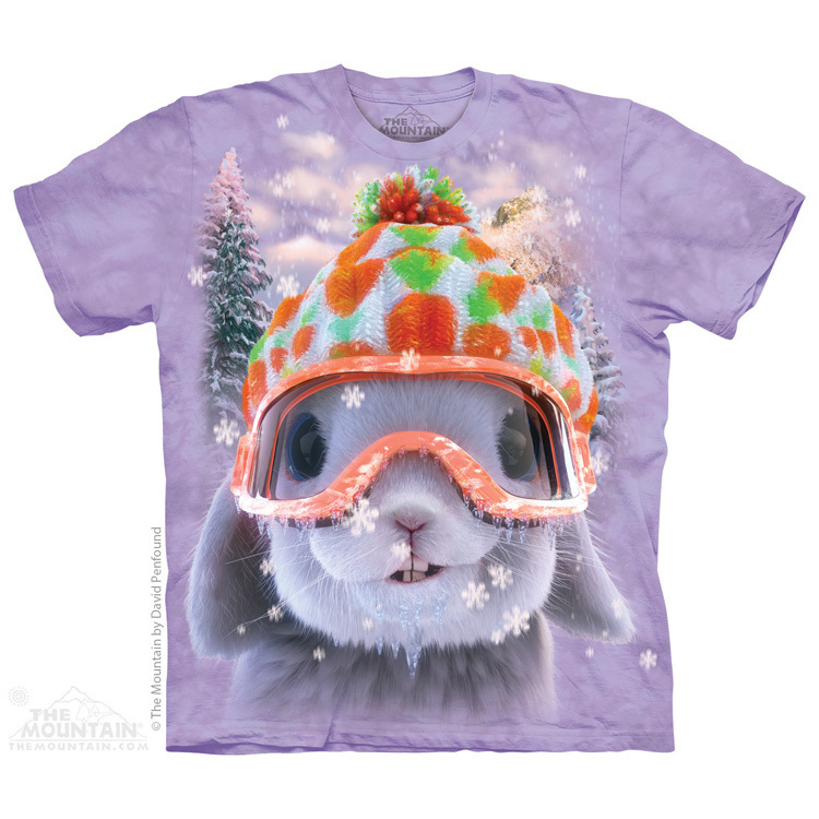 the mountain short sleeve tees 100%cotton 2015 new style 3D print for men and women Snow Bunny T-Shirt(China (Mainland))
