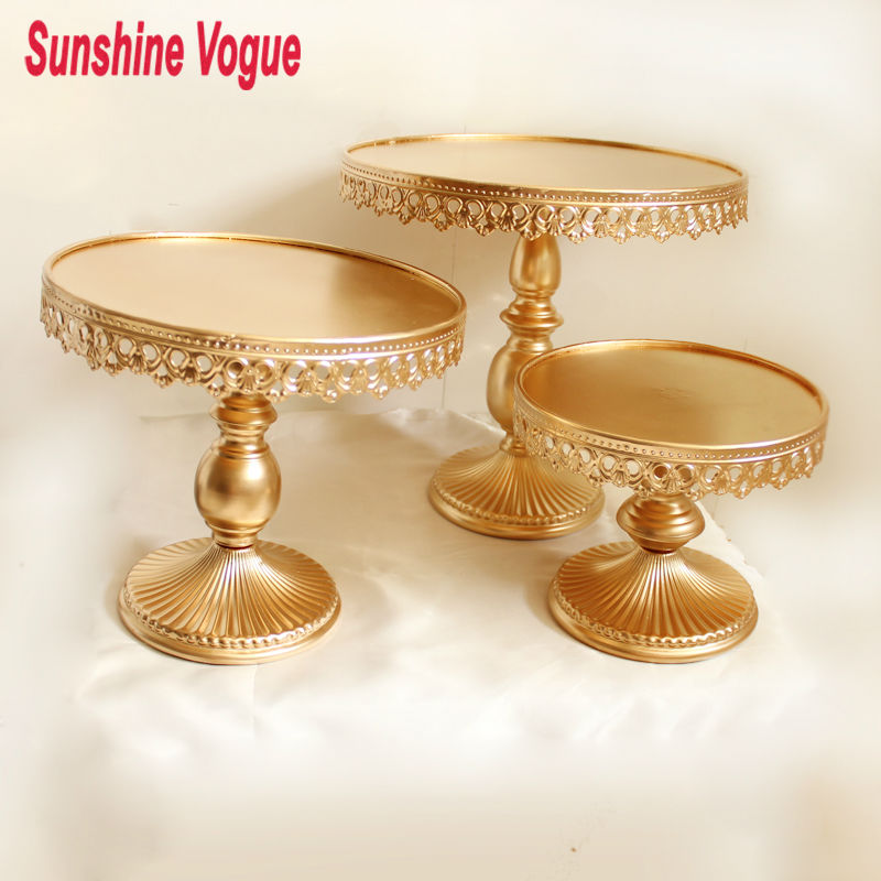 Gold metal cake stand iron art and cake dispaly tray wedding party table decoration supplier cake accessory cookie tools(China (Mainland))