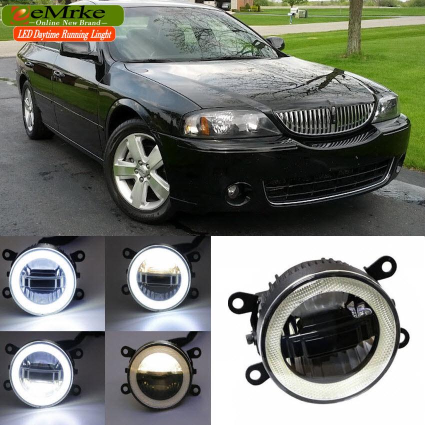 Фотография eeMrke For Lincoln LS 2005 2006 3 in 1 LED DRL Angel Eye Fog Lamp Car Styling High Power Daytime Running Lights Accessory
