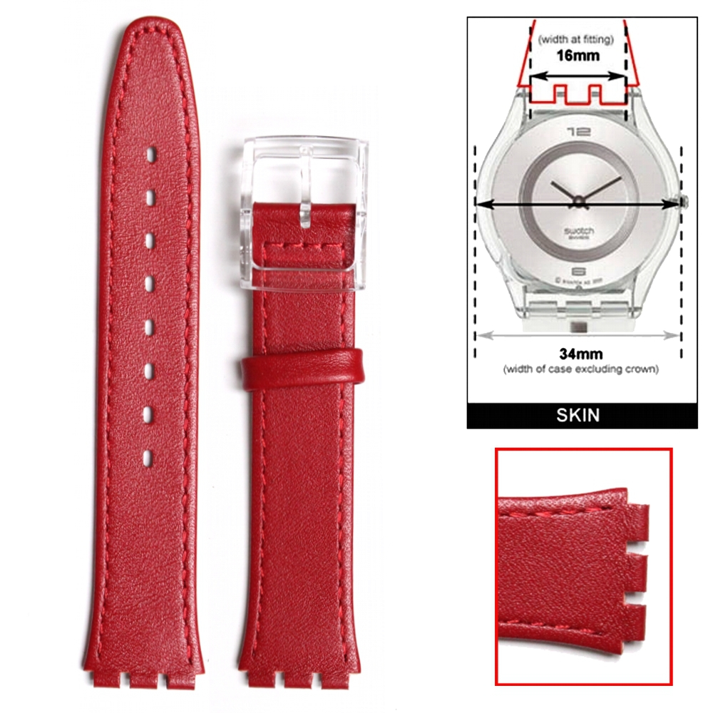 16mm Genuine Leather Replacement Red Watch Band S w a t c h fits Skin WB1068E16GB(China (Mainland))