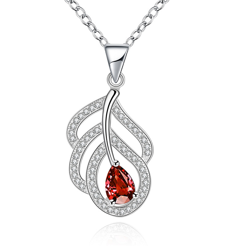 Hot Sale Asia Trendy Hollow Leaf Design Pendant Necklace Silver Plated Ruby CZ Diamond Fashion Jewelry For Women Vintage QA0120(China (Mainland))