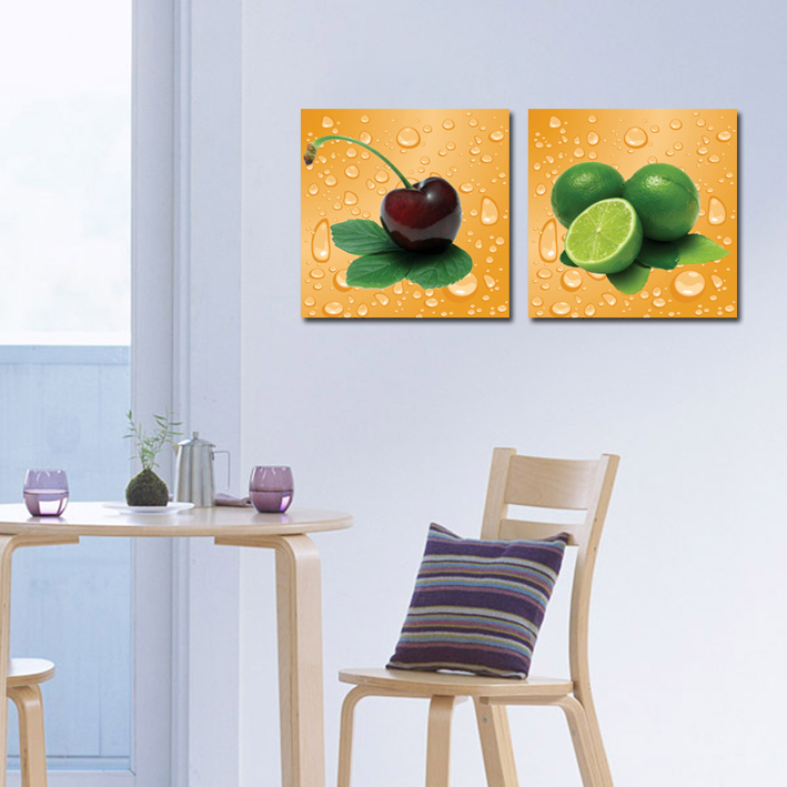 2 panel modern home wall decor canvas print painting fruit for Decoration murale one piece