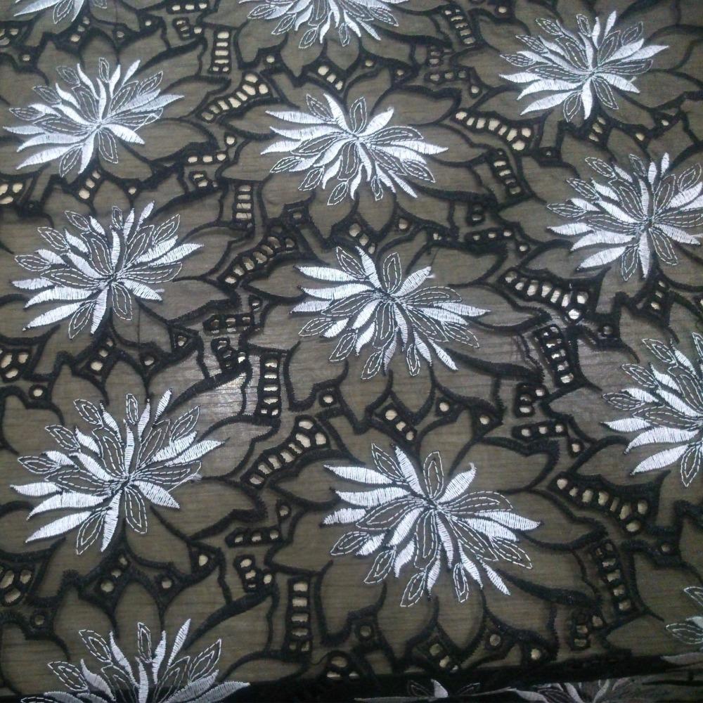 2015 tejido de organza bordada de organza bordada tela material de encaje de organza negro blanco azul rojo al por mayor 5 yardas/porción nueva(China (Mainland))