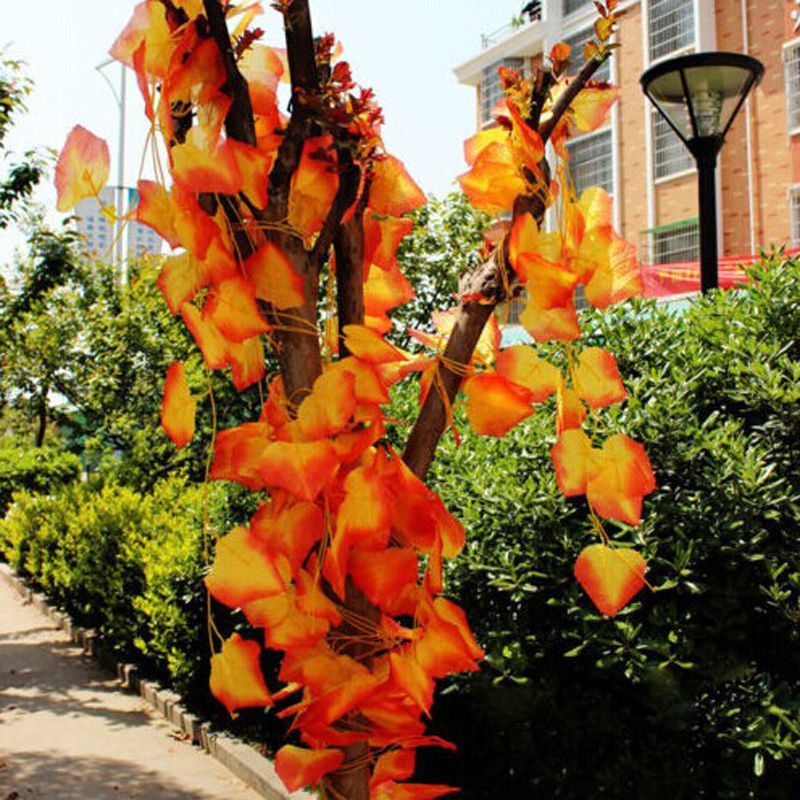 Modern minimalist fashion idyllic home decoration 8.20 ft Avril artificial leaf garland of red vine plant red maple leaf