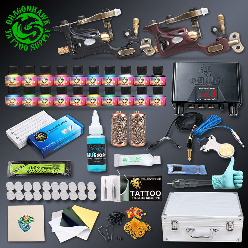 Professional Tattoo kit 2 pcs Rotary Tattoo Machines 20 Immortal Inks Tattoo Power Supply Tattoo Accessories(China (Mainland))
