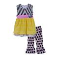 Hot Sale Kids Patchwork Clothing Kids Flower Decoration Gray Striped Dress And Bib Dot Pants Girl
