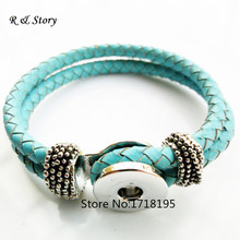 Buy Lake Blue Real Leather Fashion Bracelets Fit Snaps Buttons,Snap Charm Hole Size:6mm SB_191 for $14.06 in AliExpress store