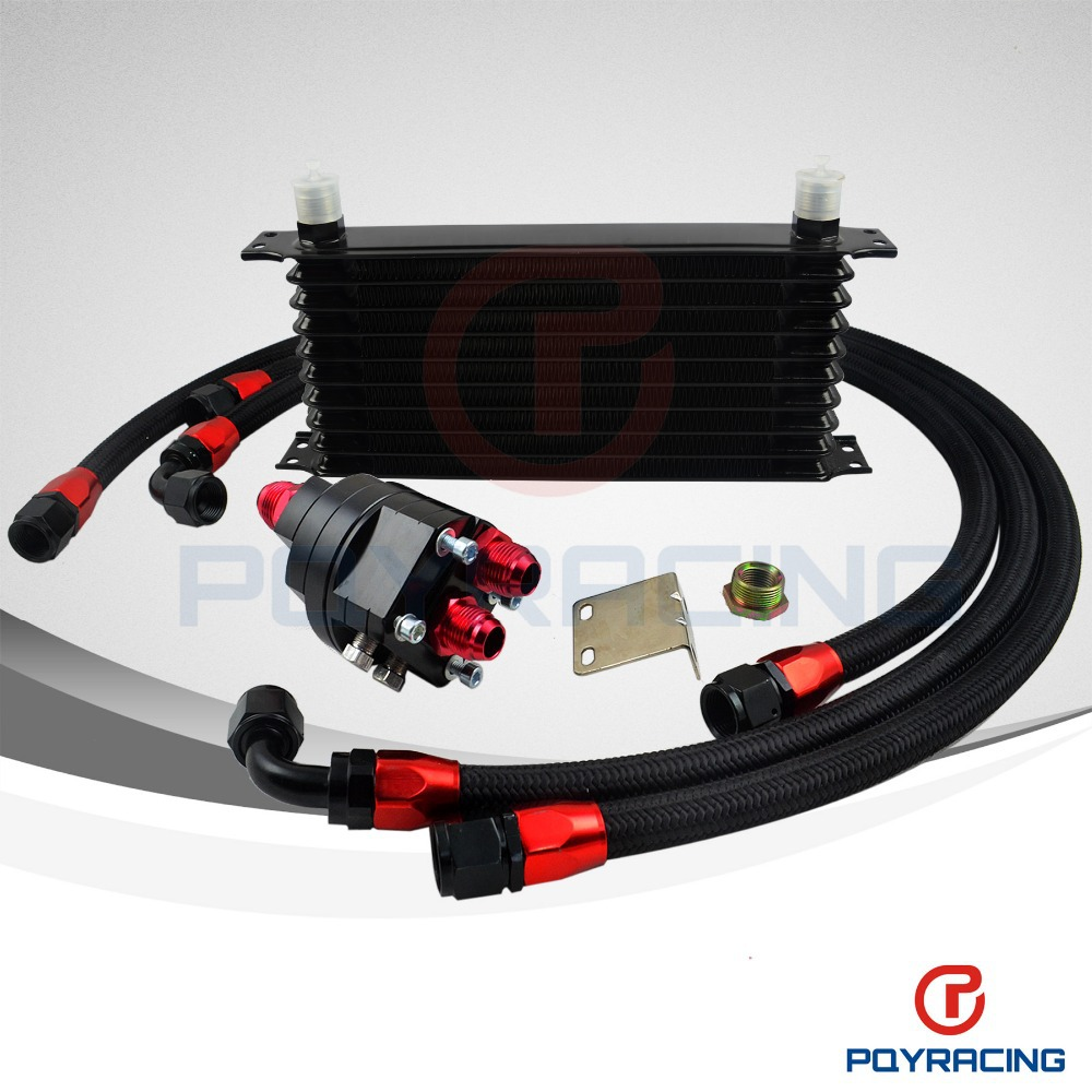 Universal 10 Row 10AN Aluminum Engine Transmission Oil Cooler Relocation Kit<br><br>Aliexpress