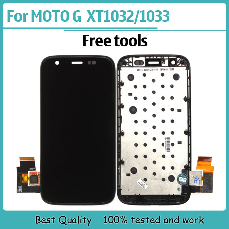 New IC LCD For Motorola MOTO G XT1032 XT1033 Display touch Screen with Digitizer with Bezel Frame Assembly + Free Tools , Black(China (Mainland))