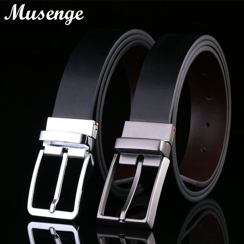 MUSENGE Reversible Leather Belt Designer Belts Men High Ceinture Homme Cowboy Jeans Pin Buckle Cinto Cinturones Hombre