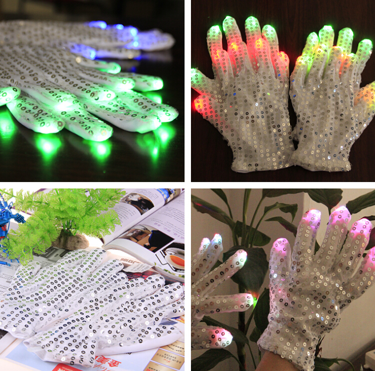 2pcs=1pair 2015 Hot Sell Colorful LED Gloves Finger Lighting Glove LED Paillette Light Nightclub Disco Gloves(China (Mainland))