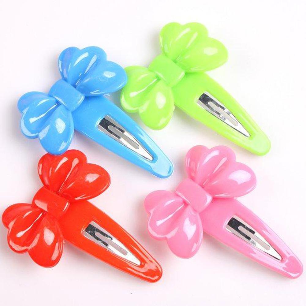 20 pcs New Mixed Bowknot Plum flower Petal Plastic Hair Barrettes Snap Bow Hair Clip mix colors Beauty girl necessary(China (Mainland))