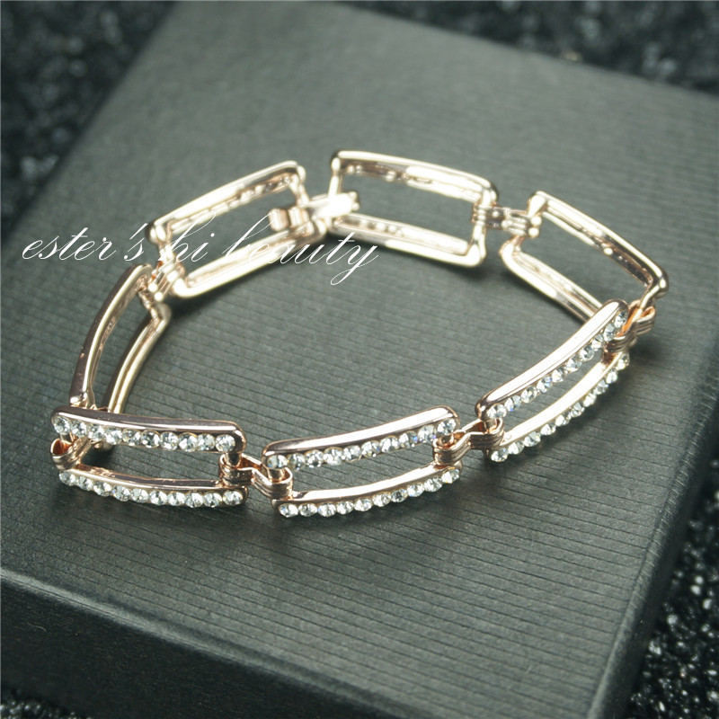women bracelet trendy square full crystal small size rose gold plated chain& link bracelets ester's hi beauty L007(China (Mainland))