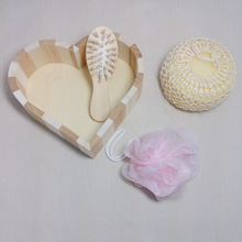 4pcs Soft Exfoliating Back Spa Scrubber Bath Ball + Massage Comb + Shower Sponge + Wood Box Set 88(China (Mainland))