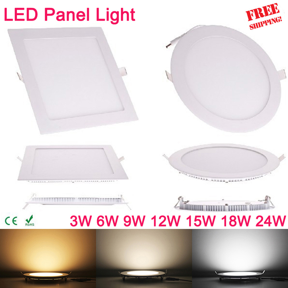 Ultra thin 3W 6W 9W 12W 15W 18W 24W Square LED panel downlight Round LED Ceiling Recessed Lights 4000K Neutral LED Panel Light(China (Mainland))