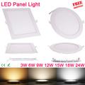 Ultra thin 3W 6W 9W 12W 15W 18W 24W Square LED panel downlight Round LED Ceiling