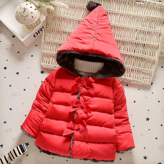 Новорожденных девочек одежда детская одежда 2016 зима девочка утолщение хлопка куртки хлопка Зимняя Верхняя Одежда ребенка вниз пальто
