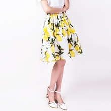 FREE SHIPPING 2016 Summer New Arrival Vintage Sweet High Waist Printing Yellow Lemon A Line Middle Pleated Skirt Women BQ610501