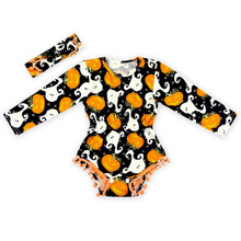Halloween baby Clothes ,Long sleeve Pom Baby Girl Bodysuits ,Pumpkin Baby Girls Outfit ,Fesitval Baby Playsuit with headband(China (Mainland))