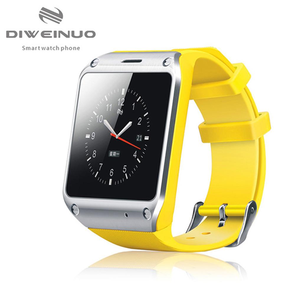 Original DIWEINUO D5 Smart Watch Phone Unlocked 3G Pedometer Sleep-Monitoring Remind Bluetooth Sync Dialer Remote Control Yellow(China (Mainland))