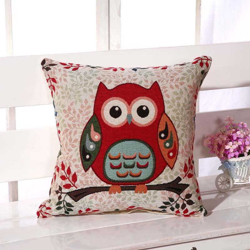 owl cotton linen sofa back cushion cover embroidery home decor 45x45cm