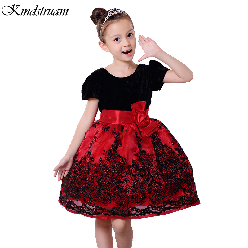 2016 Formal Dress For Girls Bowknot Short Sleeve Patchwork Princess Children Dreeses Brand ...