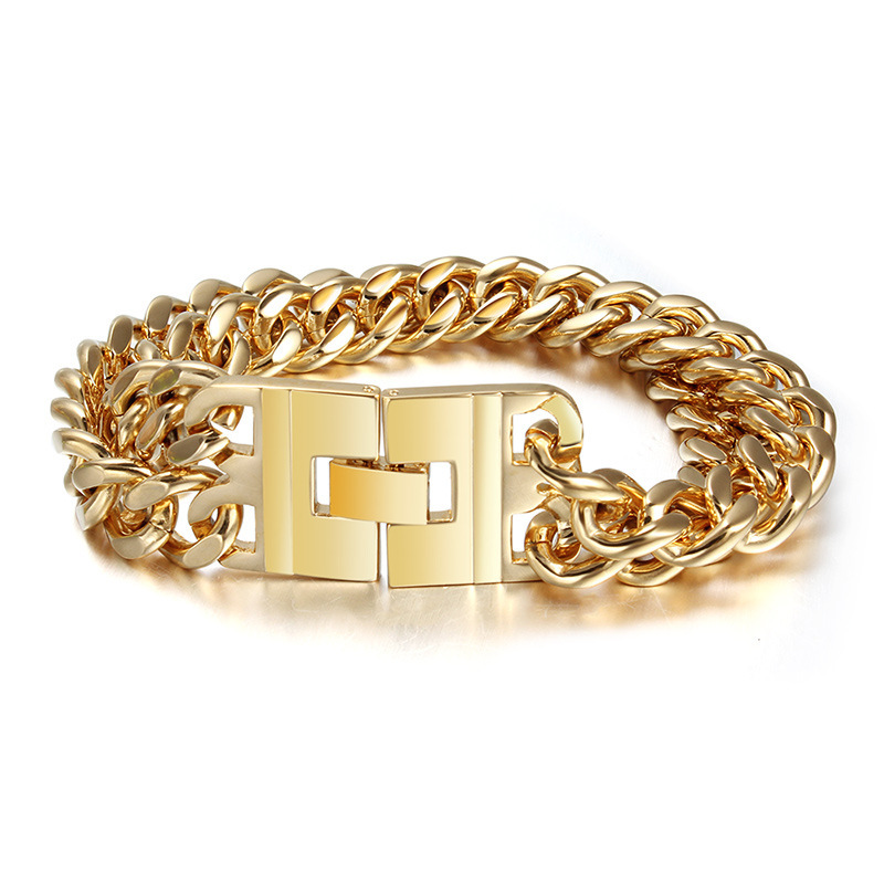 18K Gold Plated Chain Bracelets Men Jewelry High Quality Stainless Steel Bracelets & Bangles(China (Mainland))
