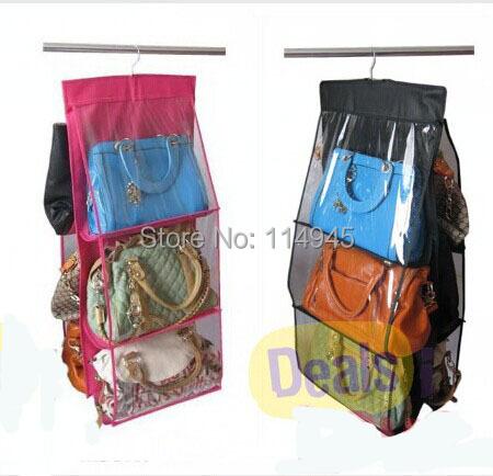 Fashion 6 Pocket Hanging Bag Purse Storage Organizer Wardrobe Closet Rack Hangers, 4 Colors Available Free shipping(China (Mainland))