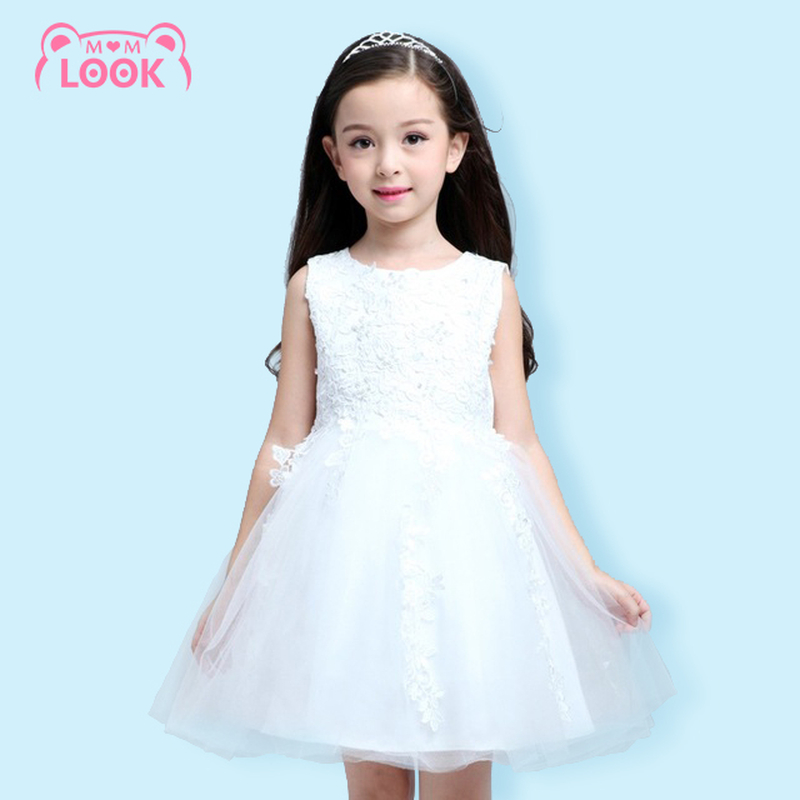2016 New Summer Korean Princess Flower Girl Dress Puff Girls Performance Clothing Wedding Kids Prom Wedding Dresses 110-150CM(China (Mainland))