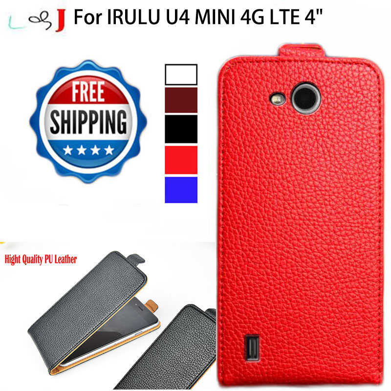 Factory Direct, High Quality Pu Leather Flip Case For IRULU U4 MINI 4G LTE Case Cover 5 Colors(China (Mainland))
