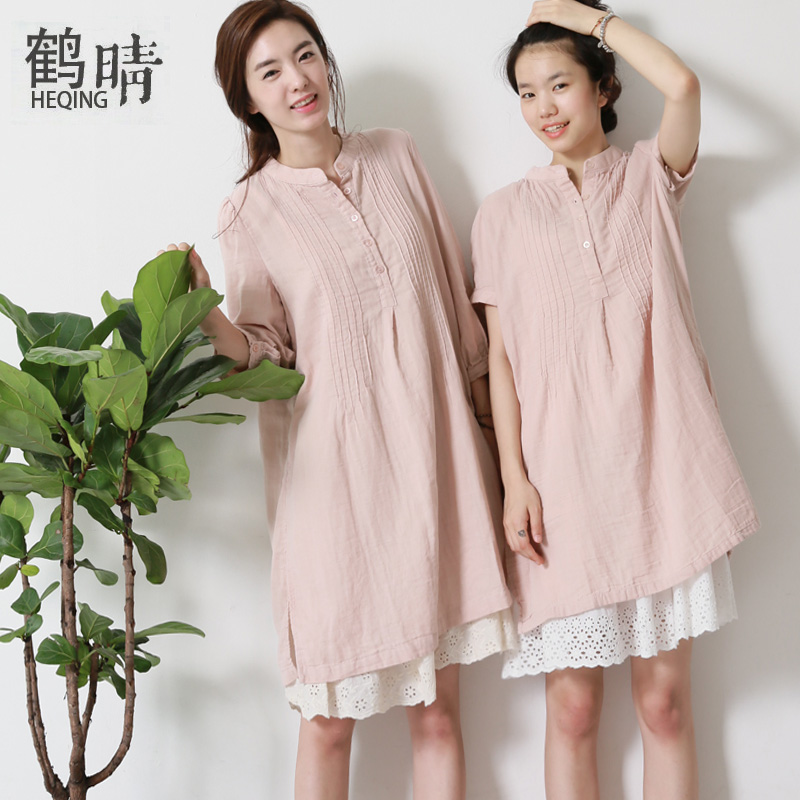 The sunny summer 2015 large size women cotton dress loose fat mm thin solid art short sleeved collar(China (Mainland))