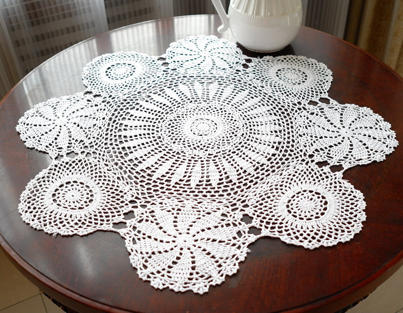 Free Crochet Patterns Round Table Toppers : Aliexpress.com : Buy Vintage handmade white crochet ...