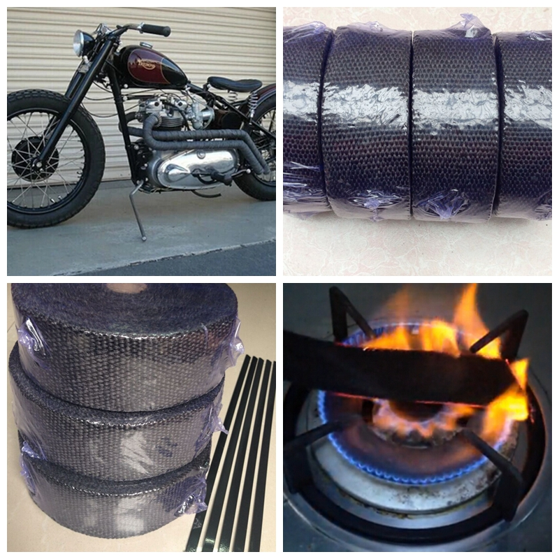 car-styling motorcycle car MANIFOLD Exhaust Protection Pipe insulation wrap Heat Insulation Tape WRAP Black with glove 10 meter(China (Mainland))