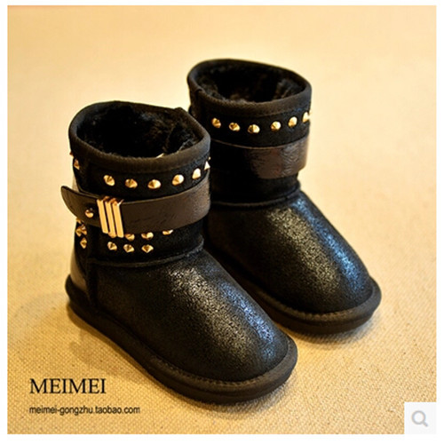new 2014 children shoes winter boots leather boots boys shoes girls Free Shipping Cowhide Thick warm rivets Fashion 1-1024(China (Mainland))