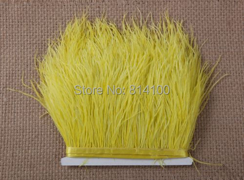 2yards/lot Yellow color Ostrich Feather Plumes Fringe trim 10-15cm Boa Stripe for Party Clothing Accessories Craft(China (Mainland))