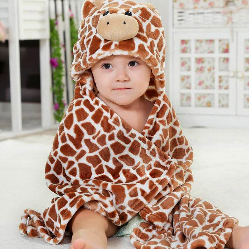 Flannels Designs Hooded Animal modeling Baby Bathrobe/Cartoon Baby Towel/ Kids bath robe/infant beach towels/neonatal hold to be(China (Mainland))