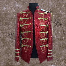 Customized 2016 new male singer performing stage star EXO same paragraph clothes men cultivating glittering sequined suit jacket