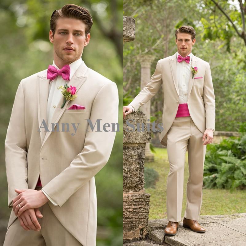 2015 Hot venta Beige smokinges del novio de solapa de pico padrinos de boda para hombre trajes de baile traje ( Jacket + Pants + Tie ) Shiping libre(China (Mainland))