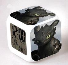 Piscando Relógio Dragão Fúria Noite Leve Toque LEVOU Mudança de Cor Despertador Dos Desenhos Animados Figura Soluço E Banguela Crianças Brinquedo Relógio de Cabeceira(China)