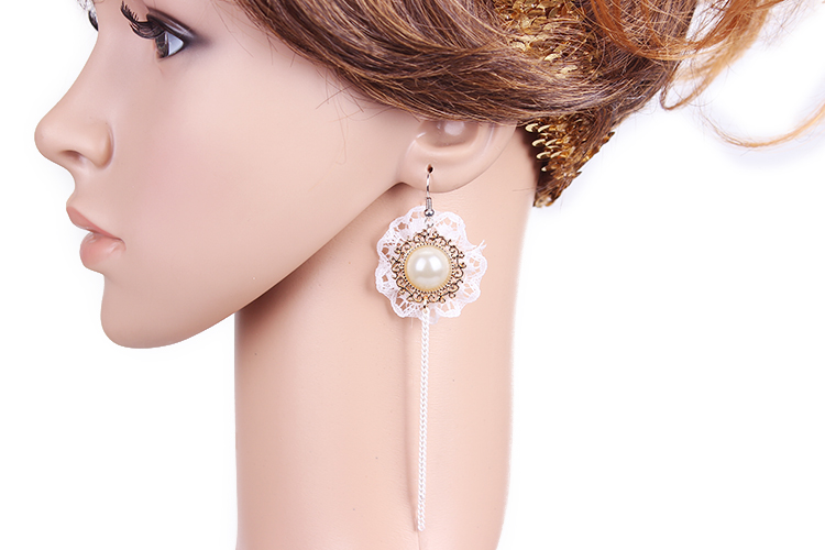 luxury long party earrings wholesale Tassels earrings lace earrings bridal drop earrings antique gold plated free shipping(China (Mainland))