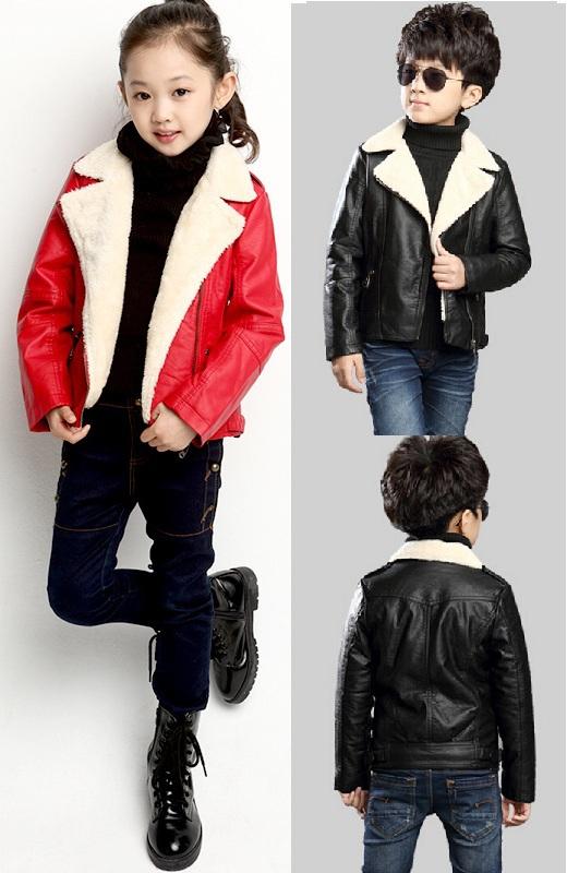 2015 Warm lamb wool boy Children Lapel Leather Jackets Long-Sleeve Zipper Thicken Jacket Girls Cool Motorcycle Leather Jackets<br><br>Aliexpress