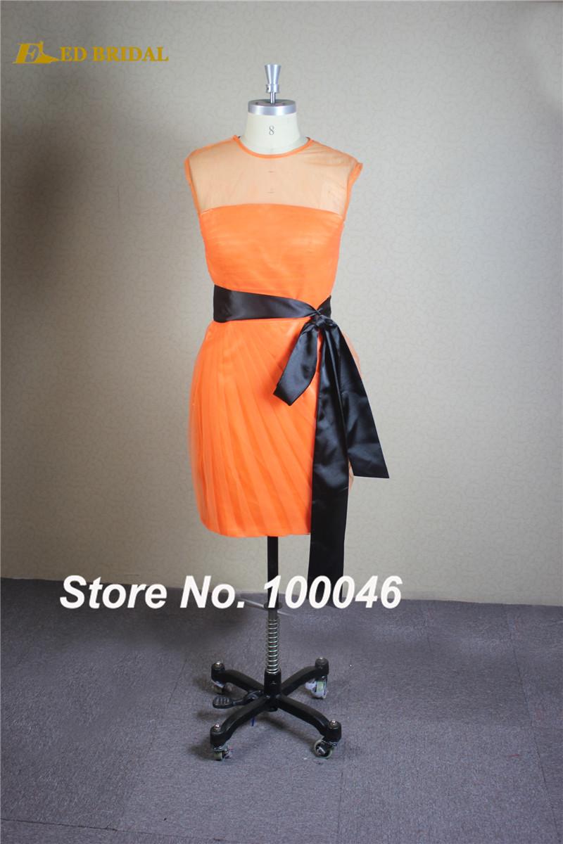 Compare prices on orange and black bridesmaid dress online short bridesmaid dress pleated orange with black belt detachable scoop neck vestidos de dama de honor ombrellifo Image collections