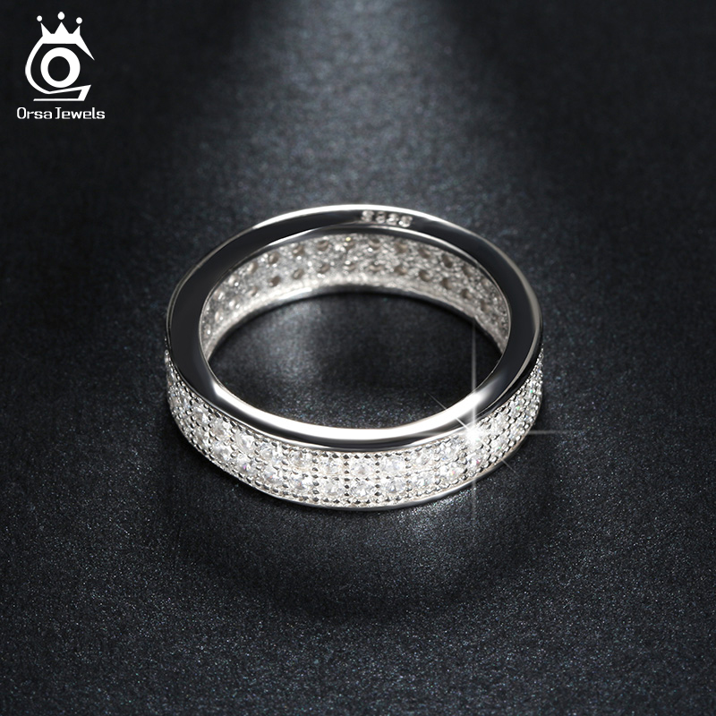 ORSA JEWELS Platinum plated Wedding Band Engagement Ring Paved 76 Pieces AAA Austrian Cubic Zirconia Fashion Women Jewelry OR121