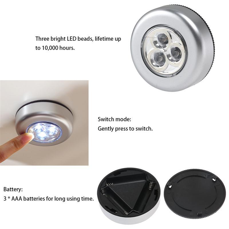 6pcs Battery Powered Click 3-LED Push Light Lamp Battery Power For Pathway Staircase Wall Fridge