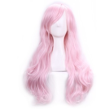 Long Pink Wig Kinky Curly Lolita Cosplay Wig