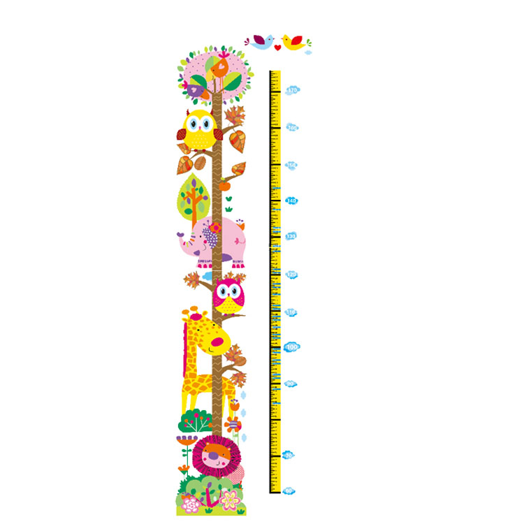 Kids Height Chart Wall Sticker Home Decor Cartoon Height Ruler Home Decoration Room Decals Wall Art Sticker Wallpaper 0309(China (Mainland))