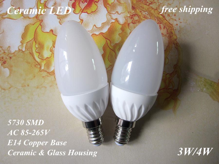 bright free shipping Ceramic LED bulb lamp light 5630 5730 SMD E14 3W 4W 110V 220V 230V 240V cold cool warm white candle G40(China (Mainland))