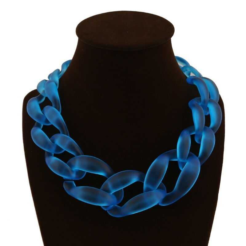 New arrival Big Plastic Chain Necklace Fashion Sapphire jewelry Matte Color Necklace NK1013(China (Mainland))