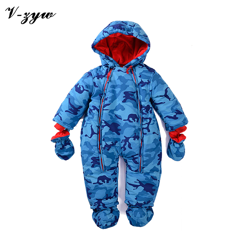Cotton Winter plus thick velvet jumpsuit gloves Socks 0-12 months winter coveralls newborn baby romper infant baby snowsuit
